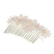 MagiDeal Vintage Lace Flower Headpiece Wedding Bridal Jewellery Pearl Hair Comb