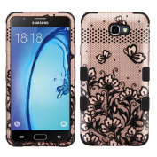 Galaxy On7 (2016) Case, Mybat Tuff Lace Flowers Dual Layer [Shock Absorbing] Protection Hybrid PC/TPU Rubber Case Cover For for Samsung Galaxy On7 (2016), Rose Gold/Black