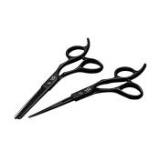 YU & CH 14cm Professional Black Barber 440C Hair Cutting Scissor - Salon Hair Thinning Shear for Hairdresser