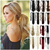 Haironline Magic Paste Synthetic Ponytail Clip in Hair Extensions One Piece Wrap Around Pony Tail Long Wavy Curly Soft Silky Dark Red