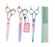 LILYS PET HIGH-END SERIES Japan 440C Pet Grooming Scissors Set,Rainbow Colour,Cutting & Thinning & Two-way Curved shears Set