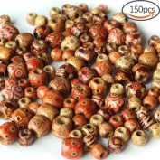 150 PCS Painted Pattern Barrel Wooden Beads Round Loose Wood Spacer Beads for DIY Jewellery Making, 2 Sizes (12mm + 17mm), Mixed Colour