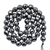 "AD Beads Natural Faceted & Smooth Metallic Hematite Round Gemstone Loose Beads 16"" 2mm 3mm 4mm 6mm 8mm 10mm (8mm, Natural Colour"