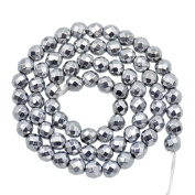 """AD Beads Natural Faceted & Smooth Metallic Hematite Round Gemstone Loose Beads 16"""" 2mm 3mm 4mm 6mm 8mm 10mm (6mm, Metallic Silver"""