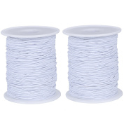 Meilaier 2 Roll Jewellery Making Elastic Fabric Cords Set, White, 109 Yards Length and 0.09cm Thickness