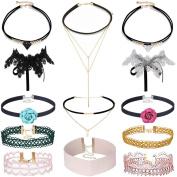 Tpocean 13PCS Ethnic Vintage Gold Chain Flower Velvet Choker Set Punk Gothic Necklace for Women Girls Gifts