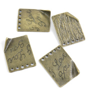 100 PCS Jewellery Making Charms Ancient Antique Bronze Fashion Jewellery Making Crafting Charms Findings Bulk for Bracelet Necklace Pendant A02126 I Love You Signs Tag
