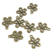 310 PCS Jewellery Making Charms Ancient Antique Bronze Fashion Jewellery Making Crafting Charms Findings Bulk for Bracelet Necklace Pendant A01520 Flower