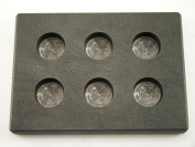 30ml x 6 Round Gold Bar High Density Graphite Mould 6-Cavities - 30ml Silver