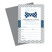 Bow Tie Baby Shower Invitations (Fill In) Set of 15 with Envelopes Navy & Grey