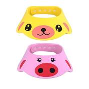 2pcs Adjustable Baby Kids Shampoo Cap Hat Soft Wash Hair Sheild for Child Shower Bathing Protection