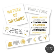 GAME OF THRONES VARIETY PACK Flash Tattoos set of 25 assorted premium waterproof metallic jewellery temporary foil party tattoos