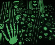 Lady Up 16 Sheets Glow in the Dark PVC Fluorescent Temporary Tattoos 210X190mm