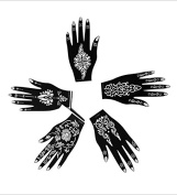 5pc RIGHT HAND Indian Arabian Tattoo Reusable Stencil Stickers To Draw Around By LAMINAU