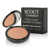 SCOUT Cosmetics Crème Compact Foundation with Vitamin E, Joboba & Shea Butter Almond