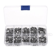 Kloud City 1 Box Tibetan Antique Silver Coloured DIY Accessories Mixed Style Spacer Charm Beads for Jewellery Findings Making with Free Plastic Container
