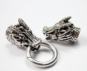 3pcs 10mm Hole Antique Silver Dragon Clasp/Connetctor. Two Dragons Biting Ring, Charm Clasps
