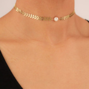 Sequins Olive Branch Pearl Collar Necklace Choker Gold Silver Plated Chain