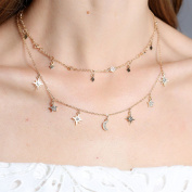 Bangood 2Pcs/Set Star Moon Rhinestone Pendant Collar Multi-layer Choker Necklace