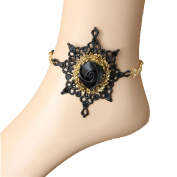 OCTCHOCO Hand Craft Gothic Style Anklet Chain Retro Elegant Black Lace Ankle Bracelet Foot Jewellery Halloween Vampire Cosplay