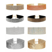 MingJun 8 Pieces Rhinestone Crystal Gold and Colourful Choker Necklace Set Wide Thick Sequins Collar Necklaces for Women Girls 90s