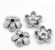 Silver Plated Flower Beads End Caps Crafts Finding Jewellery Making DIY
