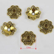 Gold Tibetan Carved Flower Spacer Bead End Caps Craft Finding Jewellery Making DIY
