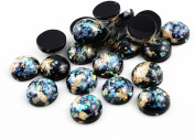 Black Colours Built-in metal foil Flat back Resin Cabochons Cameo Beads Findings Craft Jewellery Making DIY