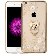 iPhone 7 Crystal TPU Flower Butterfly Case-Superstart Bling Diamond Beauty Fashion Plating Frame Soft Slim Case with Detachable Rotating Ring Stand for iPhone 7