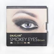 Okalan Smokey Eyes Brown 6 Powders with Application