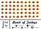 Bunch of Turkeys - Waterslide Nail Decals - 50pc