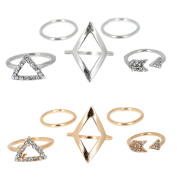 2 Set 5 PCS Per Set Women Fashion Alloy Arrow Diamond Triangle Style Joint Knuckle Nail Midi Ring with Shiny Rhinestone Gold and Silver