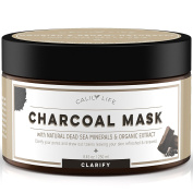 Calily Life Organic Deep Cleansing Activated Charcoal Mask with Dead Sea Minerals, 250ml – Natural Wash-off Treatment -Deeply Cleanses and Minimises Pores, Revitalises Skin, Hydrates & Strengthens