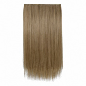 FESHFEN 60cm One Piece 3/4 Full Head Clip in Hair Extensions Long Straight Synthetic Hair Extensions 5 Clips Hairpieces for Women 140ml