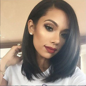 AISI HAIR Straight Bob Wig Shoulder Length Wigs for Women Black Fashion Synthetic Wig Heat Resistant Wigs