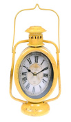 Alpine Indoor Accents 30cm Rustic Railroad Hurricane Lantern Table Clock - Yellow