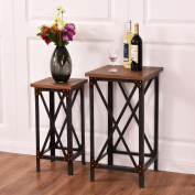New 2PCS Night Stand End Table Set Side Table Coffee Accent Hallway Display