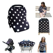 Baby Car Seat Cover Canopy by Sprout n' Smiles, Multi-Use Nursing Cover, Shopping Cart Cover, High Chair Cover, Stretchy Rayon Blend Fabric