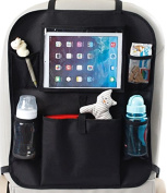 Evergreen Portage Backseat Car Organiser with Tablet Holder for Kids, Cup/Book/Toy Storage, Kick Mat Protector, Doubles as Stroller Organiser, Black