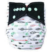"HappyEndings Bamboo Charcoal Contoured AI2 All-In-Two Cloth Nappy / Snap-in Insert ""Arrows"""