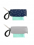 Oh Baby Bags Nappy Bag Clip-On Dispensers with Disposable Bags for Dirty Nappies and Other Messes -Set of 2 - Navy Dot and Grey with White Mini Stripes