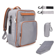 Lmeison Nappy Bag Backpack With Stroller Straps Insulated Bag Changing Pad, Multi-Function Waterproof Travel Backpack Nappy Bags for Baby Care, Large Capacity, Stylish and Durable - Grey