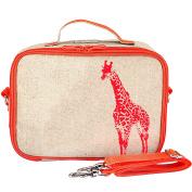 SoYoung Raw Linen Neon Giraffe Lunch Box, Orange
