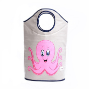 CENDA Canvas Cartoon Storage Box Large Folding Laundry Basket Toy Dirty Clothes Storage Bag£¨Pink octopus or Purple Octopus£