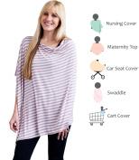 Nursing Poncho Lavender Stripe Multi Purpose Nursing Cover - Use as swaddle, nursing cover, maternity top , and car seat cover