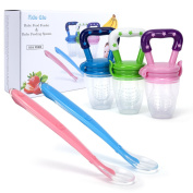 Baby Food Feeder - 3-Pack, Fresh Fruit Feeder, Infant Teething Toy Silicone Nibbler with 2 Pack Baby Feeding Spoons