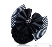 CiCy Black Professional Woman Bowknot Decor Barrette Snood Net Hair Clip for Stewardess/Banks/Hotels/Nurse/Property/Restaurant Staff