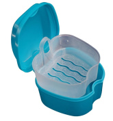 DDLBiz Portable False Teeth Storage Box Case Denture Box with Hanging Net Container