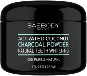 Baebody Teeth Whitening Charcoal Powder - All Natural with Activated Coconut Charcoal and Bentonite Clay. - Large 120ml