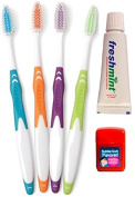 """""""4 Day Travelling Dental Set"""" - 4 Toothbrushes, Freshmint Toothpastes and Bubblegum Flosses"""